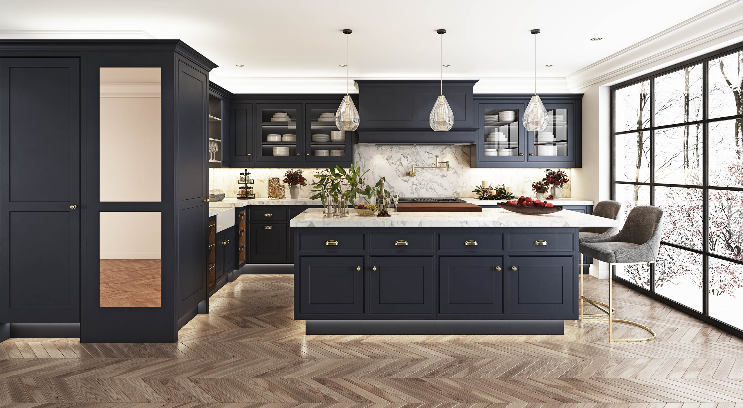 The Smallbone Iconic original hand painted kitchen in dark blue
