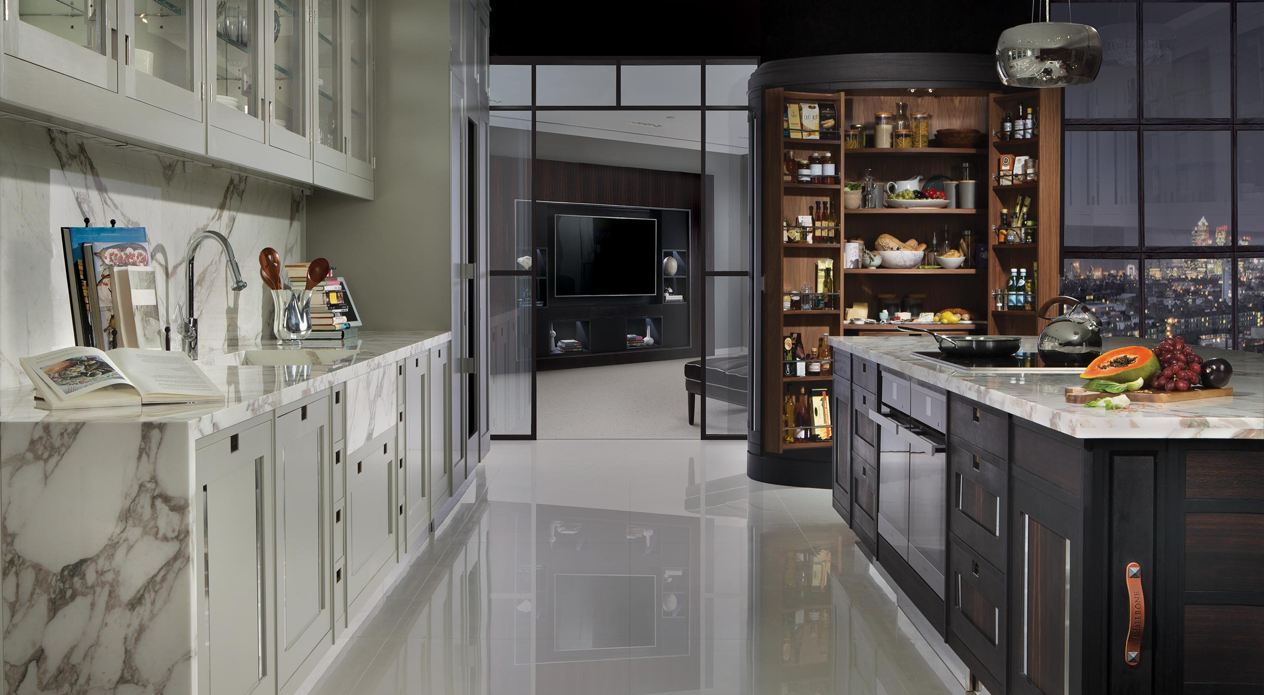a Smallbone Macassar Kitchen Collection in dark grey