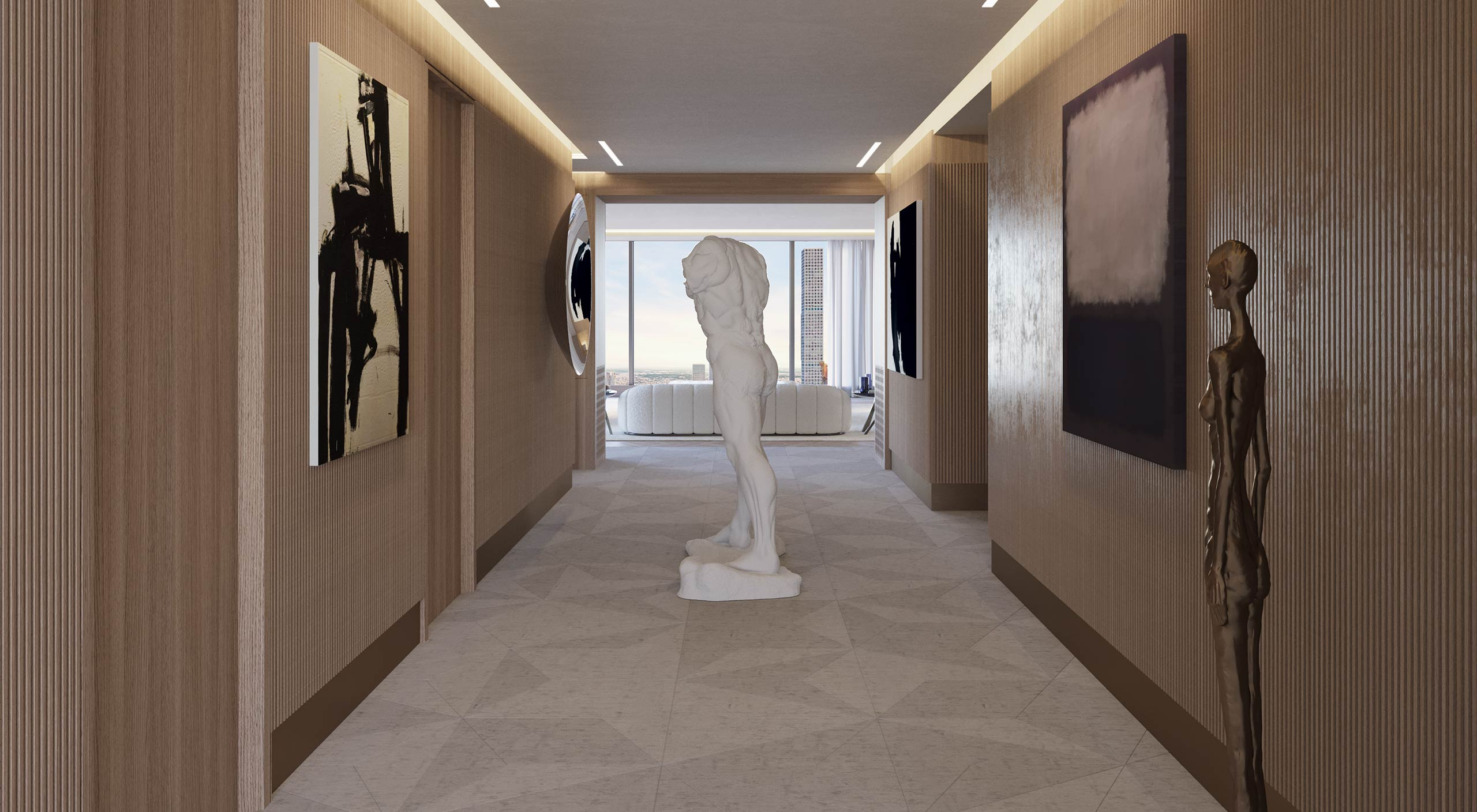Interior Corridor of a Smallbone Apartment at Central Park Tower New York