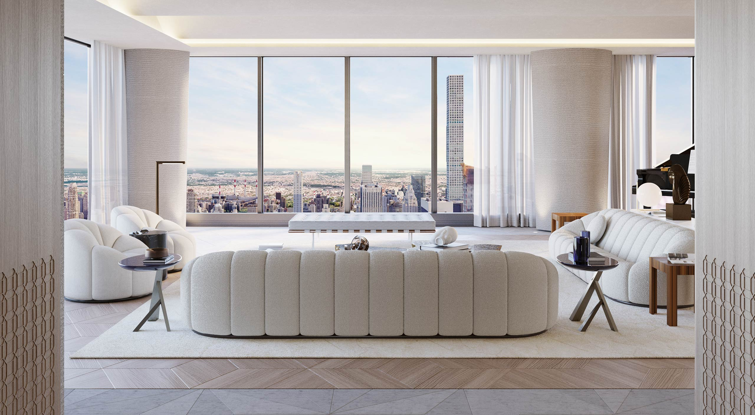 Interior of the Central Park Tower in New York, a luxury design project by Smallbone