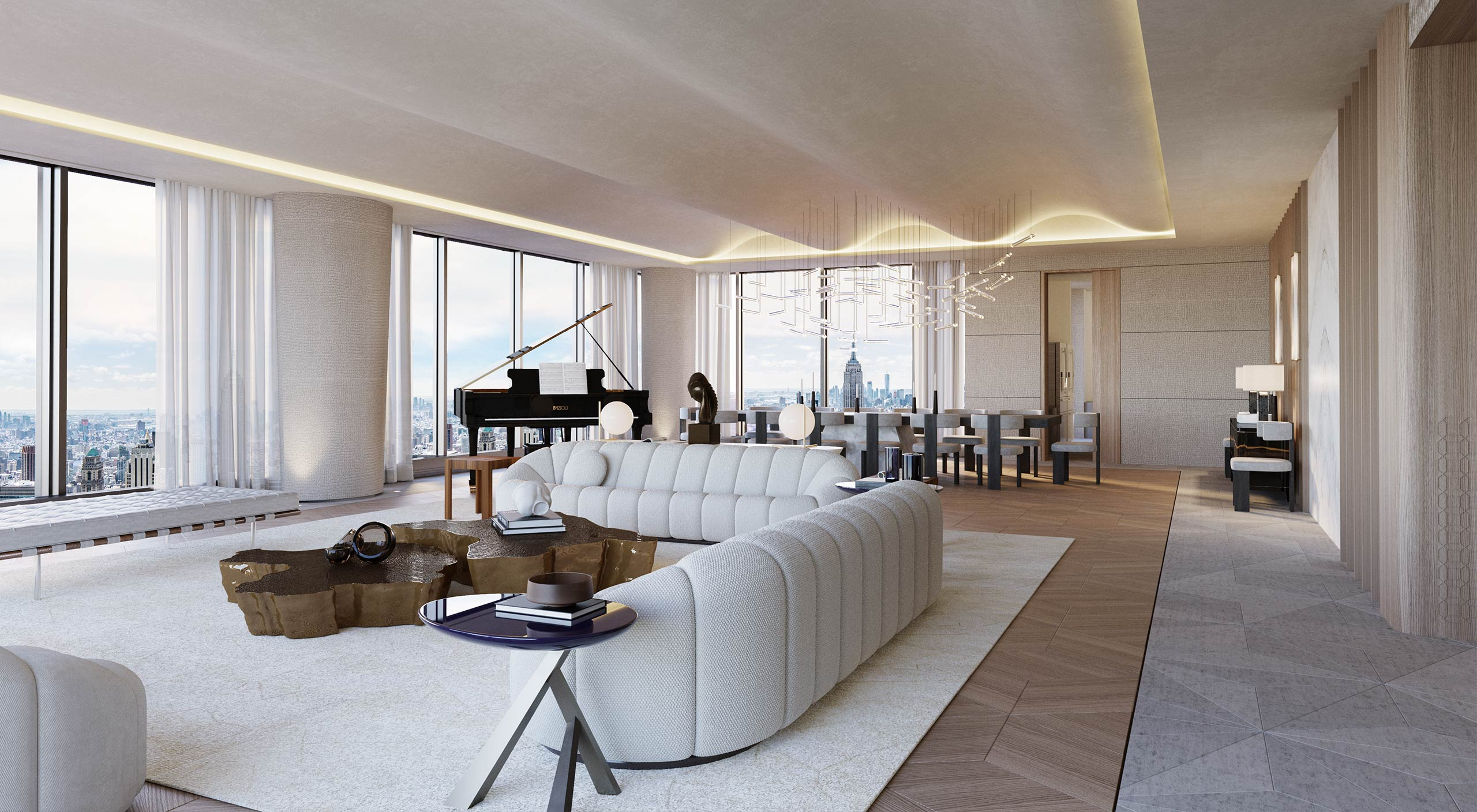 Open plan Sitting and Dining Room of the Central Park Tower in New York, a luxury design project by Smallbone