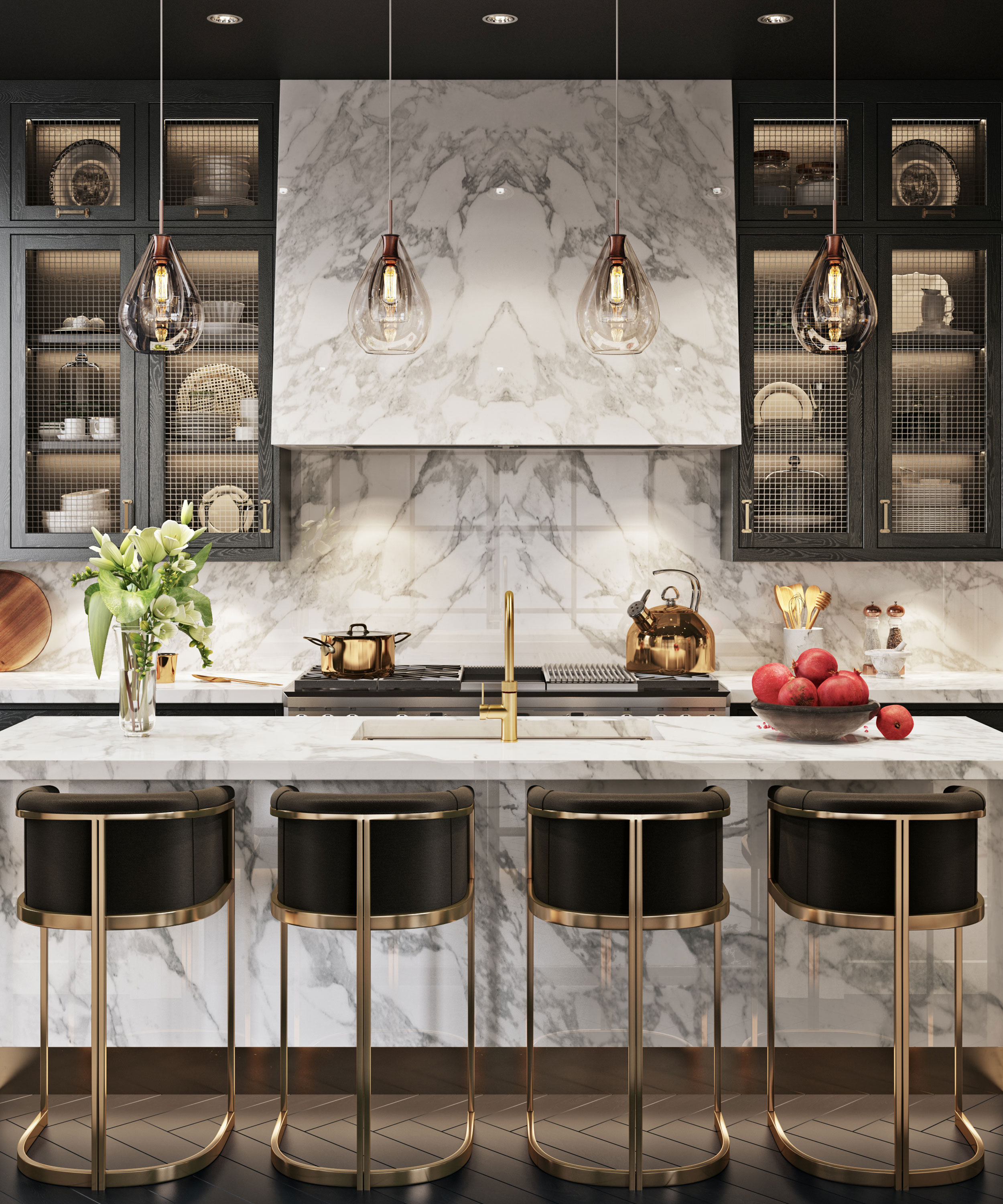 Dark Mulberry kitchen with marble centre island