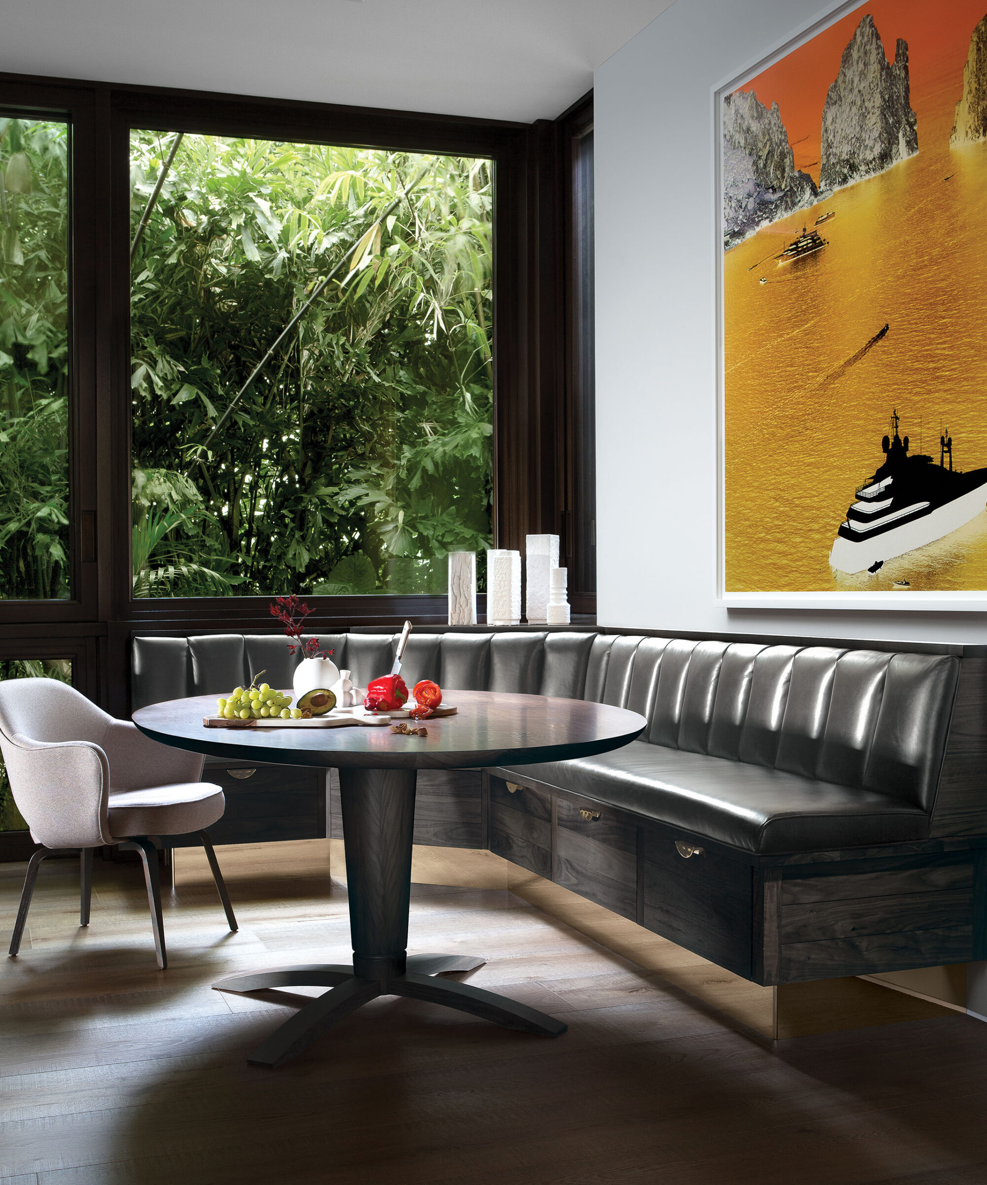a Smallbone Napes bespoke table and wall mounted dining bench with leather finishing