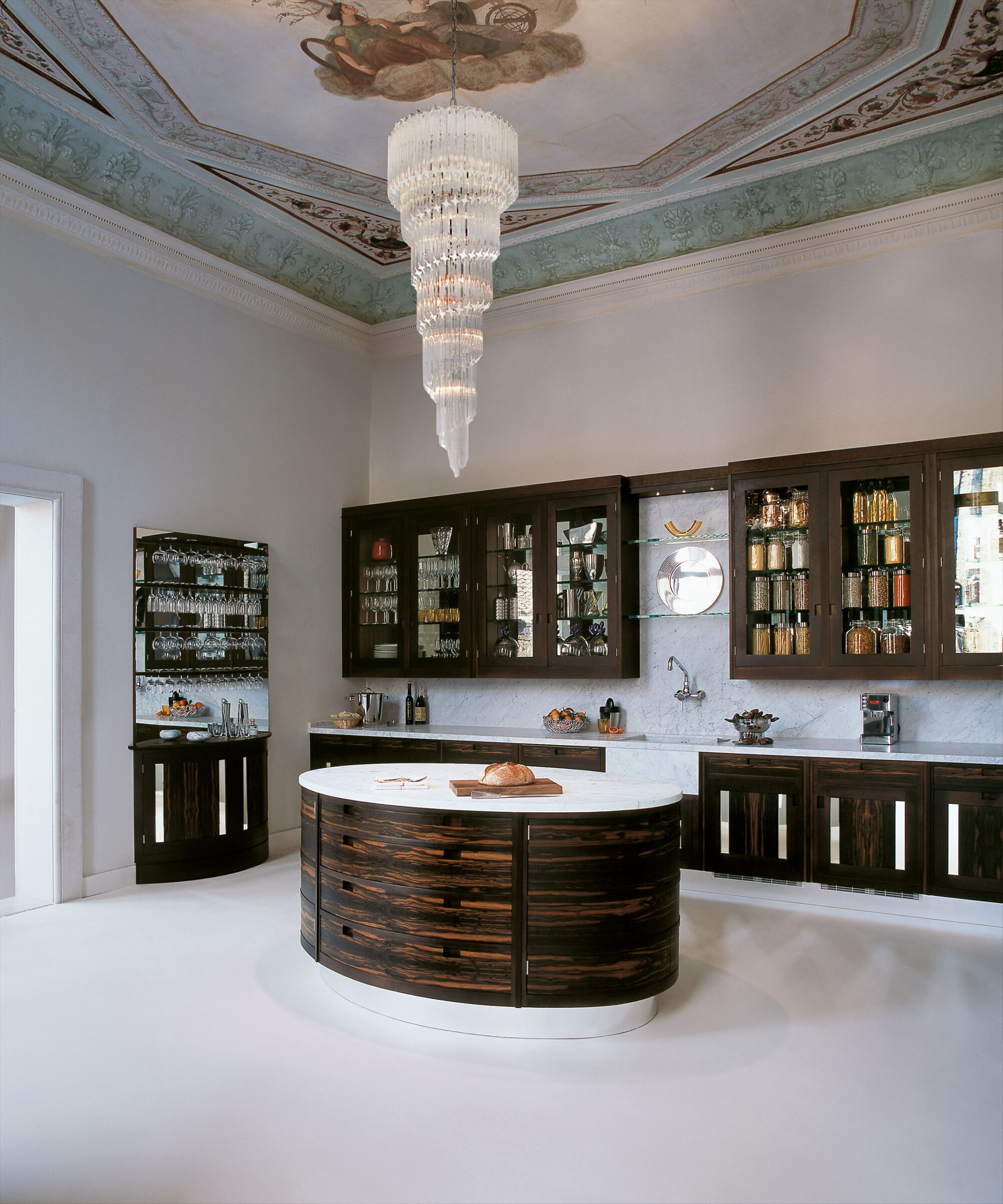 A Macassar kitchen by Smallbone in a Venetian Palazzo room setting