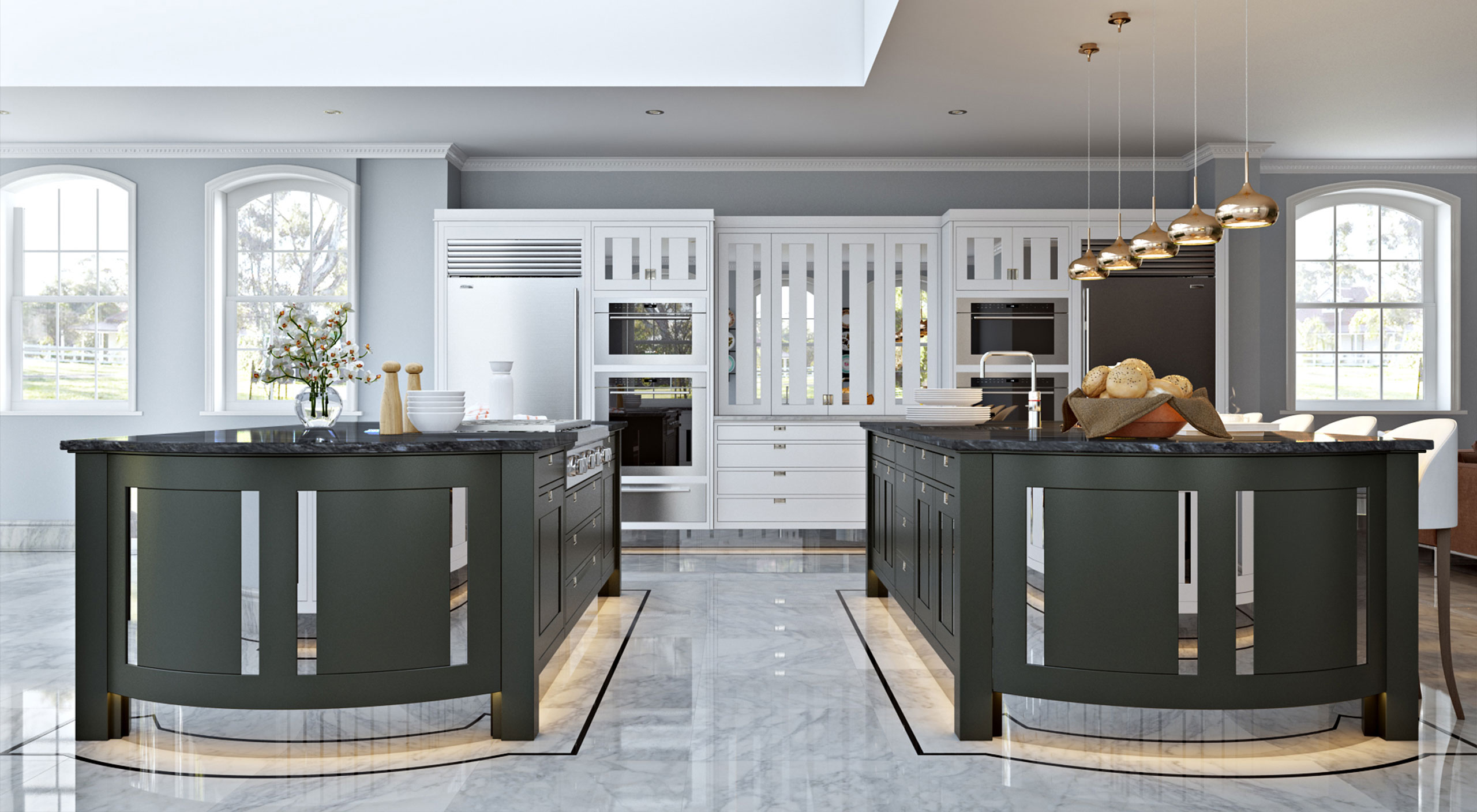 A Macassar kitchen by Smallbone with white handpainted wall cabinets and two central islands crafted from ebony