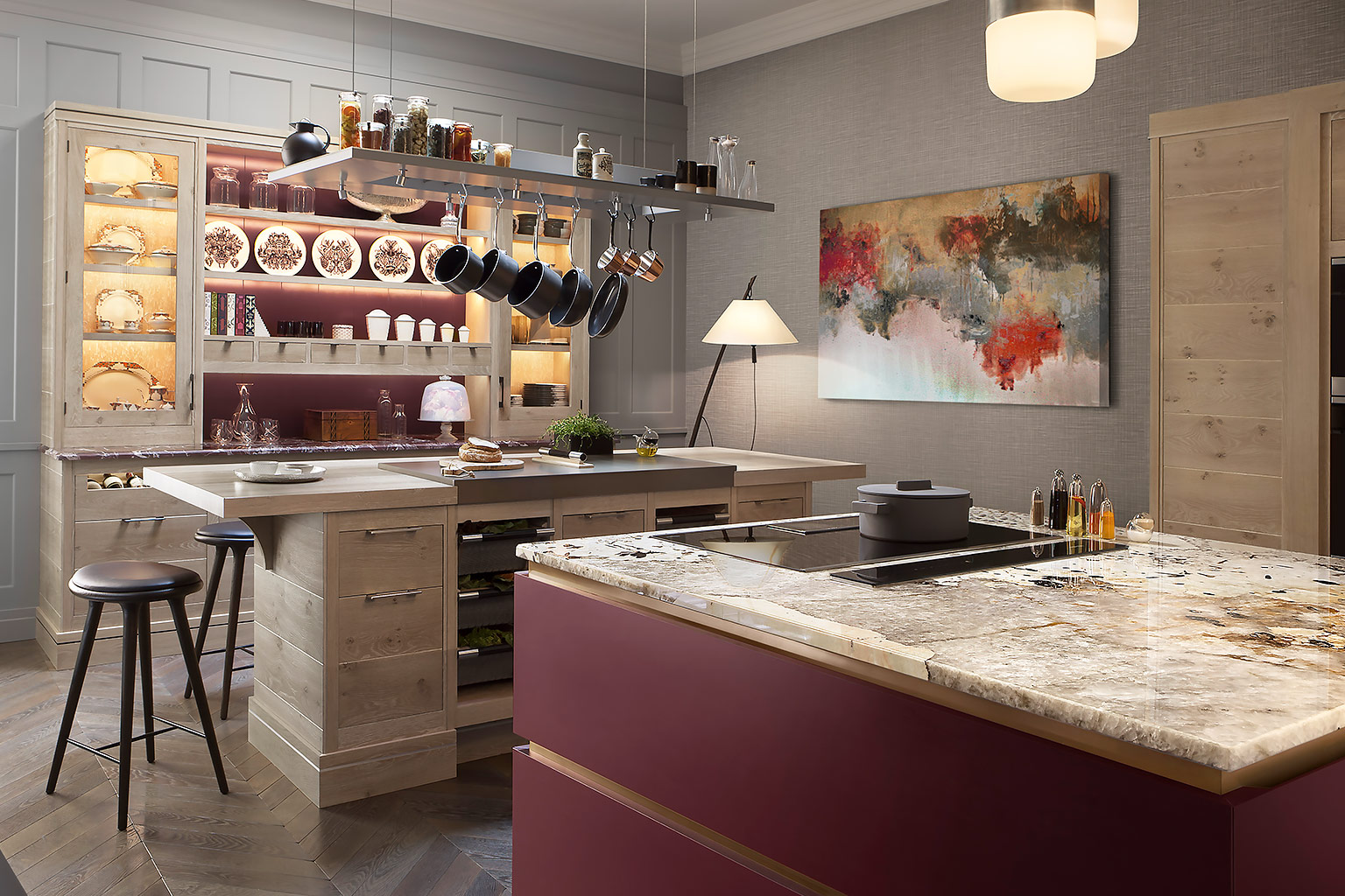 A Brasserie kitchen with a deep red colour central island