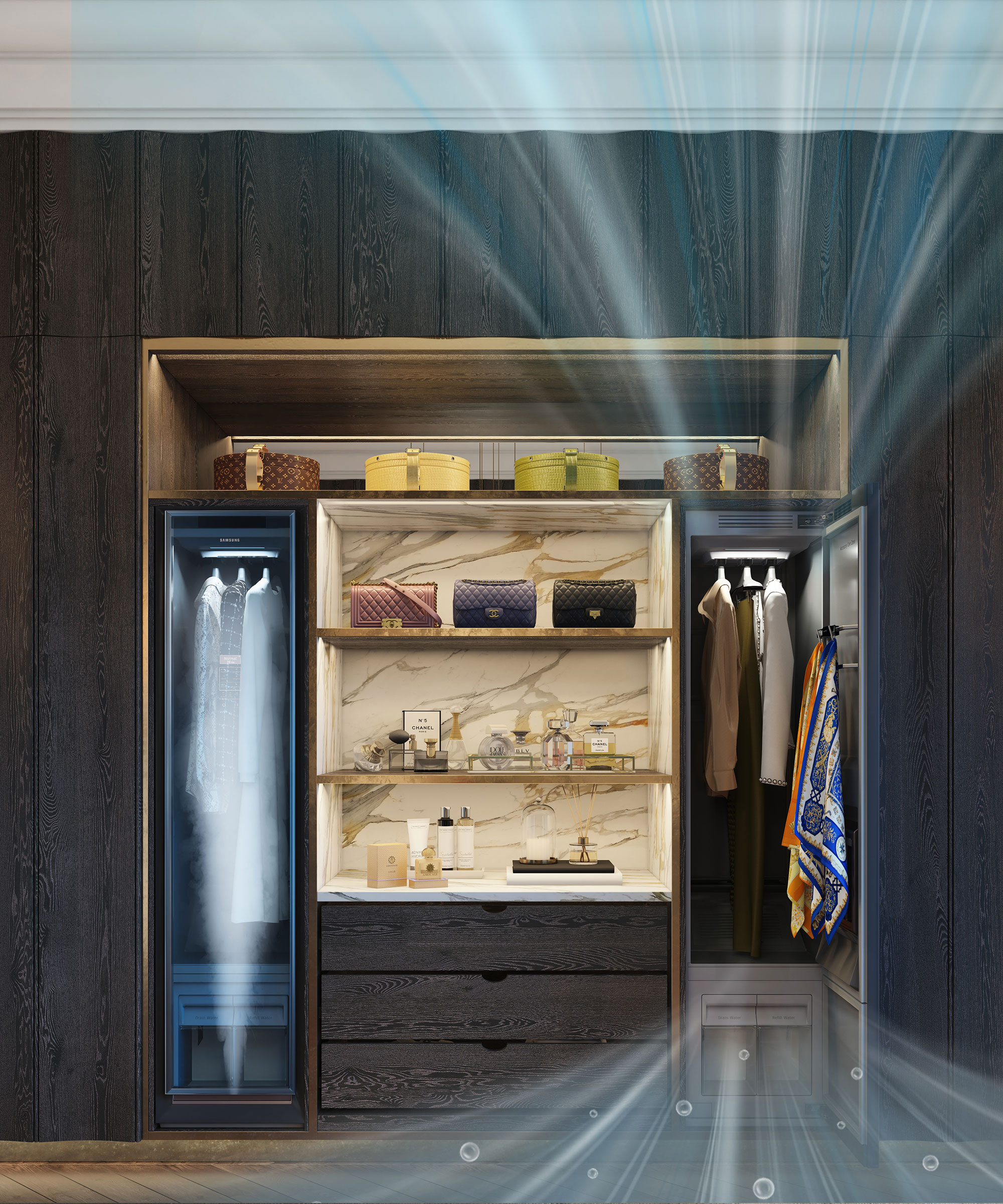 Samsung AirDresser in a Smallbone Icarus Dressing Room