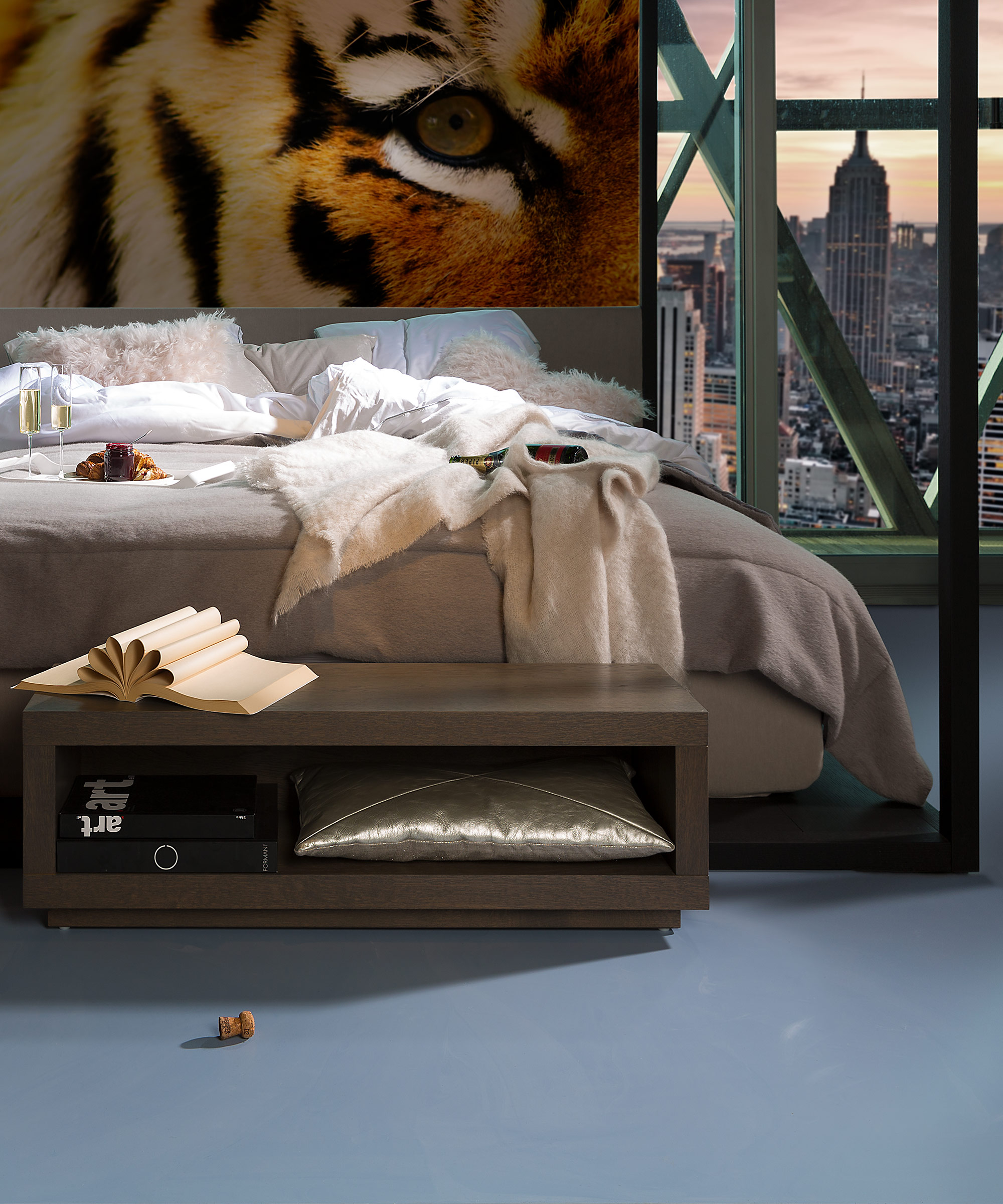 A bedroom in a New York apartment with a blueish grey Senso flooring