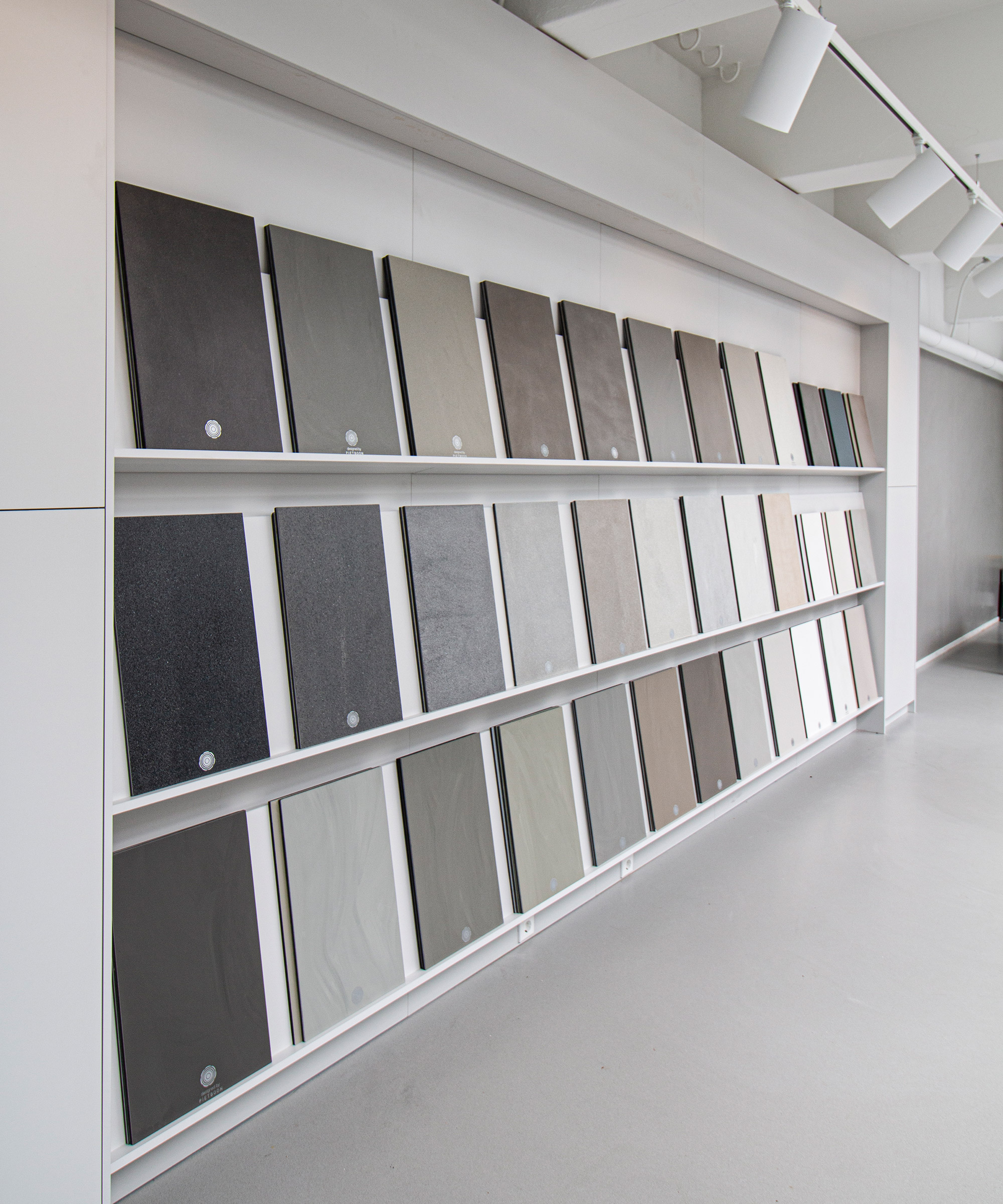 A wall of Senso floor sample boards